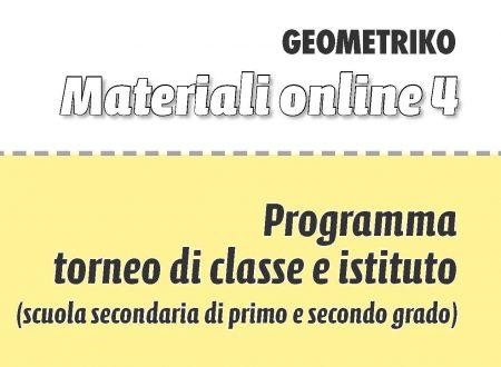 Programma Torneo di Classe e Istituto Scuola Secondaria