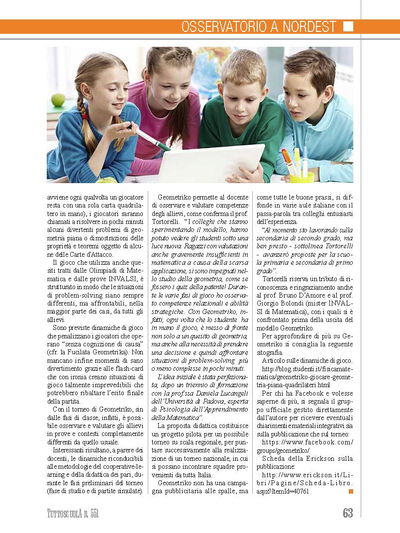 Rassegna Stampa su Geometriko / TuttoScuola - Aprile 2015